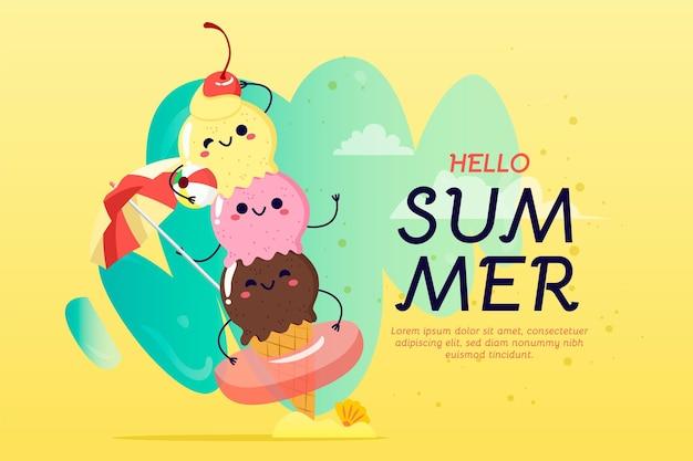 Haufen des gezeichneten sommerhintergrunds der glücklichen eishandhand