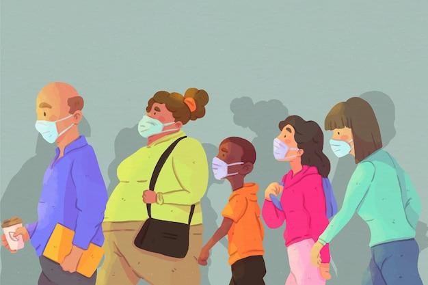 Haufen leute, die medizinische masken tragen