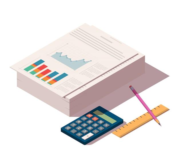 Haufen von dokumenten mit bleistift, lineal und taschenrechner