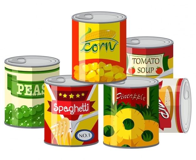 Haufen von verschiedenen konserven