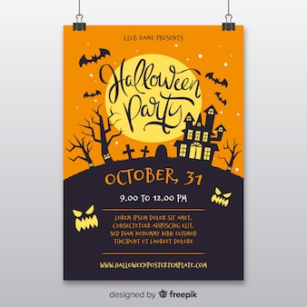 Haunted house halloween party flyer vorlage