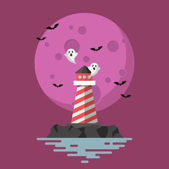 Haunted lighthouse mit mond auf hintergrund. illustration