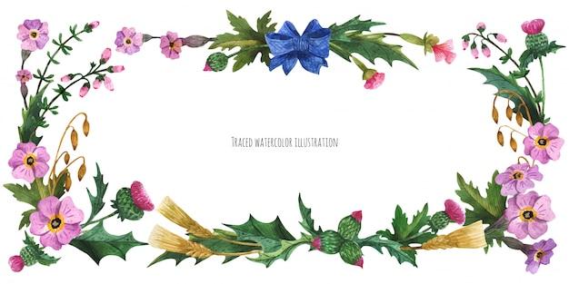 Hauptbanner aus schottischen pflanzen mit blauem seidenschleife