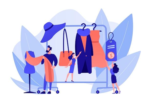 Hauptdesigner, der modische kleidungsdesigns kreiert und an die garderobe hängt. modehaus, bekleidungsdesignhaus, modeproduktionskonzept. isolierte illustration des rosa korallenblauvektors