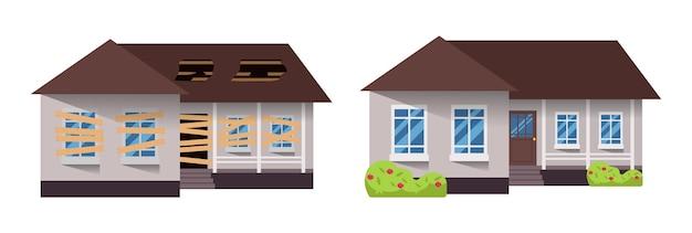 Haupterneuerung. haus vor und nach der reparatur. neues und altes vorstadthaus. gebäude umbauen.