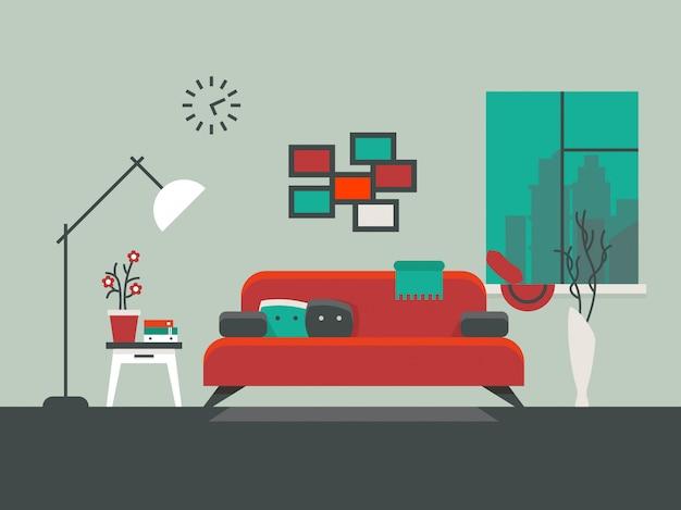 Hauptinnenraum der wohnzimmervektorillustration