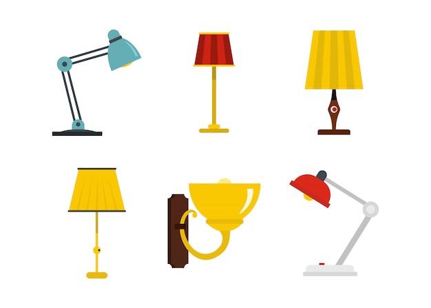 Hauptlampen-ikonenset. flacher satz der hauptlampenvektor-ikonensammlung lokalisiert