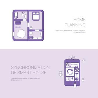 Hauptplanung und synchronisierung der intelligenten haus-konzept-schablonen-netz-fahne