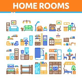 Haupträume möbel sammlung icons set