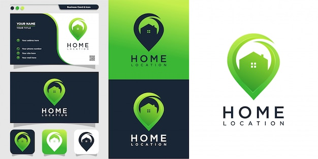 Hauptstandort mit modernem stillogo und visitenkartenentwurfsschablone, symbol, ort, karte, modern, haus, haus