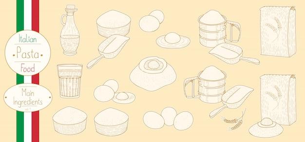 Hauptzutaten für das kochen italienischer pasta