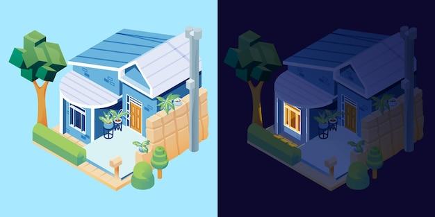 Haus am tag und in der nacht