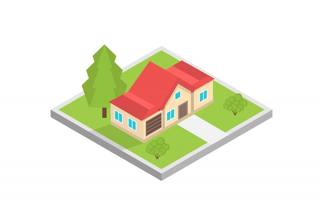 Haus auf einer karte isometrisches konzept. illustration