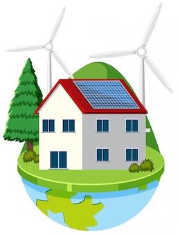 Haus auf erden mit grüner energie