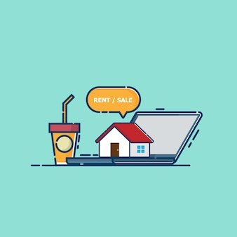 Haus auf laptop-vektor-flaches design