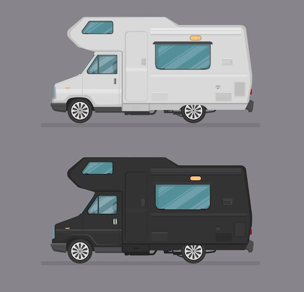 Haus auf rädern, autoillustration, autoikone-logo-schablone. flacher cartoon-stil. seitenansicht, profil.