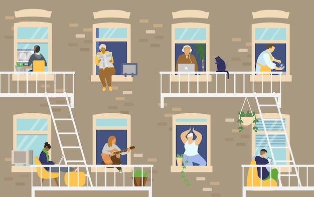 Haus außen mit menschen in fenstern und balkonen, die zu hause bleiben und verschiedene aktivitäten ausführen. flache illustration.
