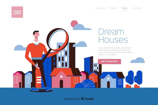 Haus, das konzept nach landing page sucht