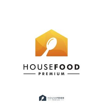 Haus essen restaurant logo design home icon illustration