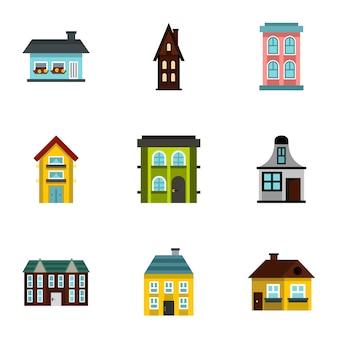Haus festgelegt, flachen stil