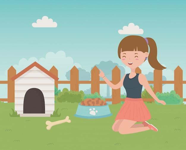 Haus für maskottchen- und mädchenkarikaturdesign