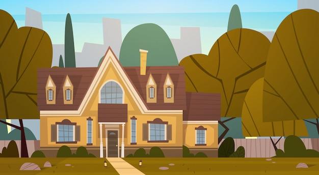 Haus-gebäude-vorort der großstadt im sommer, nettes stadtkonzept cottage real estate