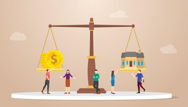 Haus gegen geld geldinvestition im skalenvergleich