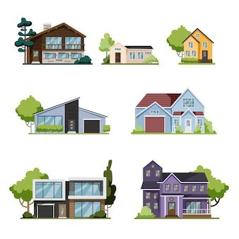 Haus gesetzt. sammlung von häuschen, moderne architektur