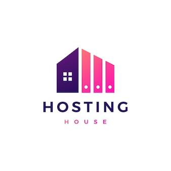 Haus home hosting server cloud data storage logo vektor icon illustration