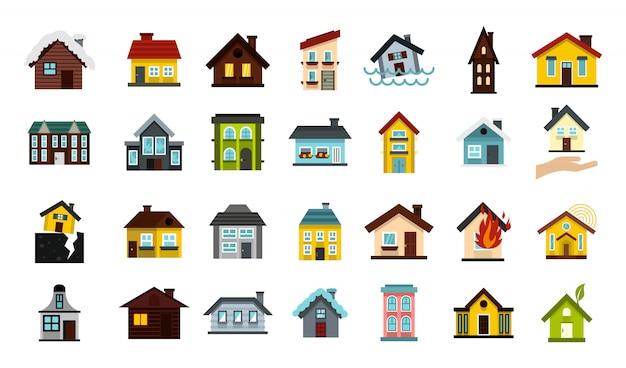 Haus-icon-set. flacher satz der hausvektor-ikonensammlung lokalisiert