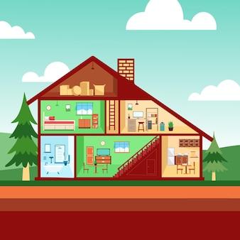Haus im querschnitt und baum