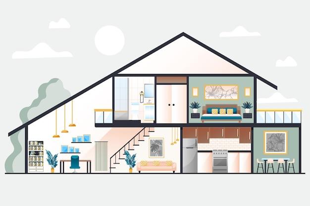 Haus im querschnittskonzept Kostenlosen Vektoren