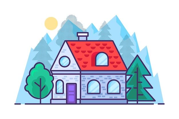 Haus in den bergen und im wald im flachen umrissstil. vektor