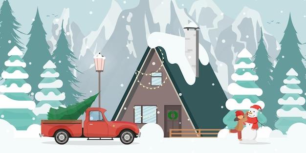 Haus in einem verschneiten wald. rotes auto mit weihnachtsbaum. das mädchen macht einen schneemann. weihnachtsbäume, berge, schnee. flacher cartoon-stil. vektor-illustration.