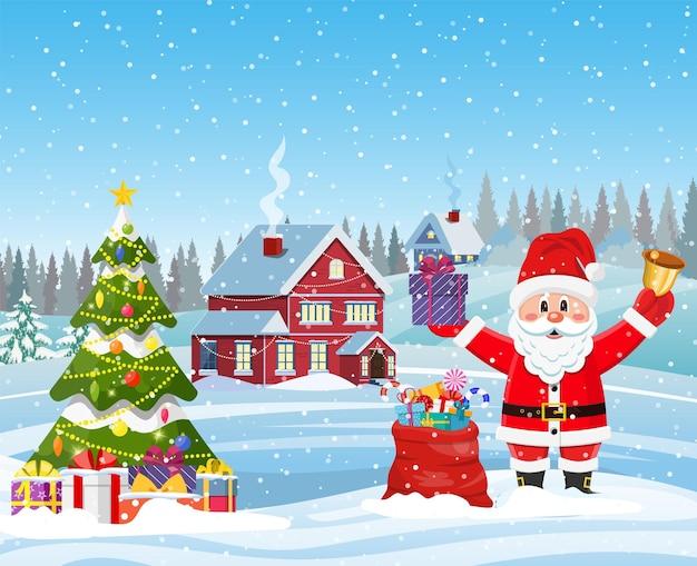 Haus in verschneiter weihnachtslandschaft