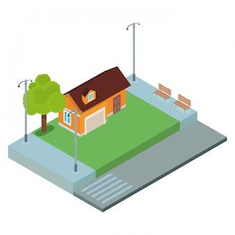 Haus isometrische landschaft