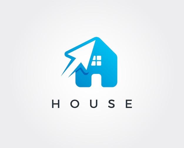 Haus-klick-logo-design-vorlage illsutration es gibt haus- und symbolklick