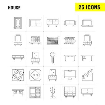 Haus liniensymbol für web, print und mobile ux / ui kit.
