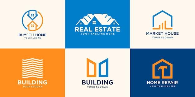 Haus-logo-set, creative home logo collection kombiniertes hammerelement, abstraktes gebäude-logo-set.