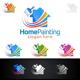 Haus-malerei-logo mit pinsel und hauptkonzept