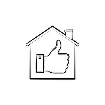 Haus mit daumen hand gezeichneten umriss-doodle-symbol. wie zuhause, social media, erfolg, konzept genehmigen