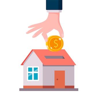 Haus mit einem loch für eine münze. ein haus kaufen. illustration.