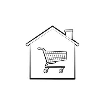 Haus mit einkaufswagen in hand gezeichneten umriss-doodle-symbol. immobilienkauf, e-commerce, immobilienkonzept