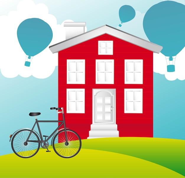 Haus mit fahrrad- und ballonluft, vektorillustration
