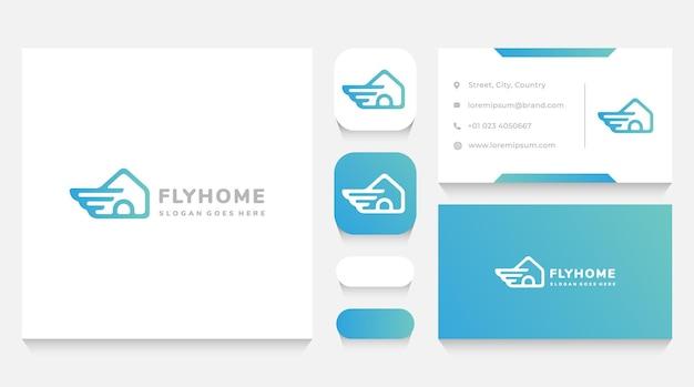 Haus mit flügel-logo-vorlage und visitenkarte