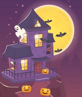 Haus mit geistschlägern und kürbis halloween