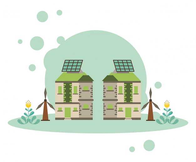 Haus mit panel solar alternative energie vektor-illustration design