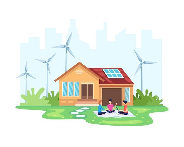 Haus mit sauberem energiekonzept. umweltfreundliche haus solar- und windkraft. alternatives energiekonzept. menschen vor dem haus mit umweltfreundlichen erneuerbaren energien. im flachen stil