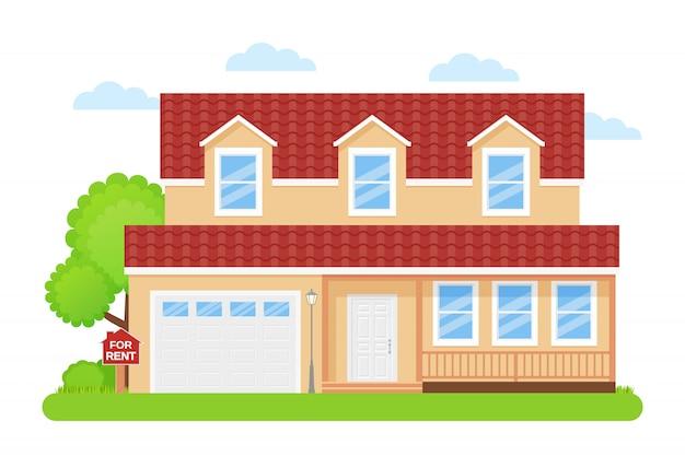 Haus mit schild zu verkaufen,