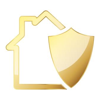 Haus mit schildikone. goldillustration. gold sicherheitsschild. sicherheitskonzept